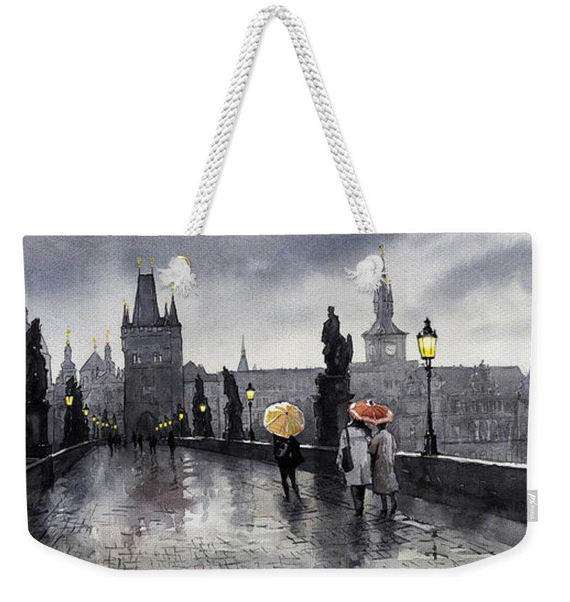 Prague Weekender Tote Bag featuring the painting BW Prague Charles Bridge 05 by Yuriy Shevchuk