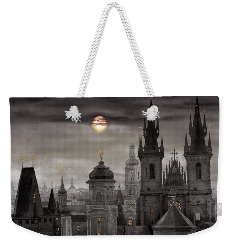 Cityscape Weekender Tote Bag featuring the painting Bw Prague City Of Hundres Spiers by Yuriy Shevchuk