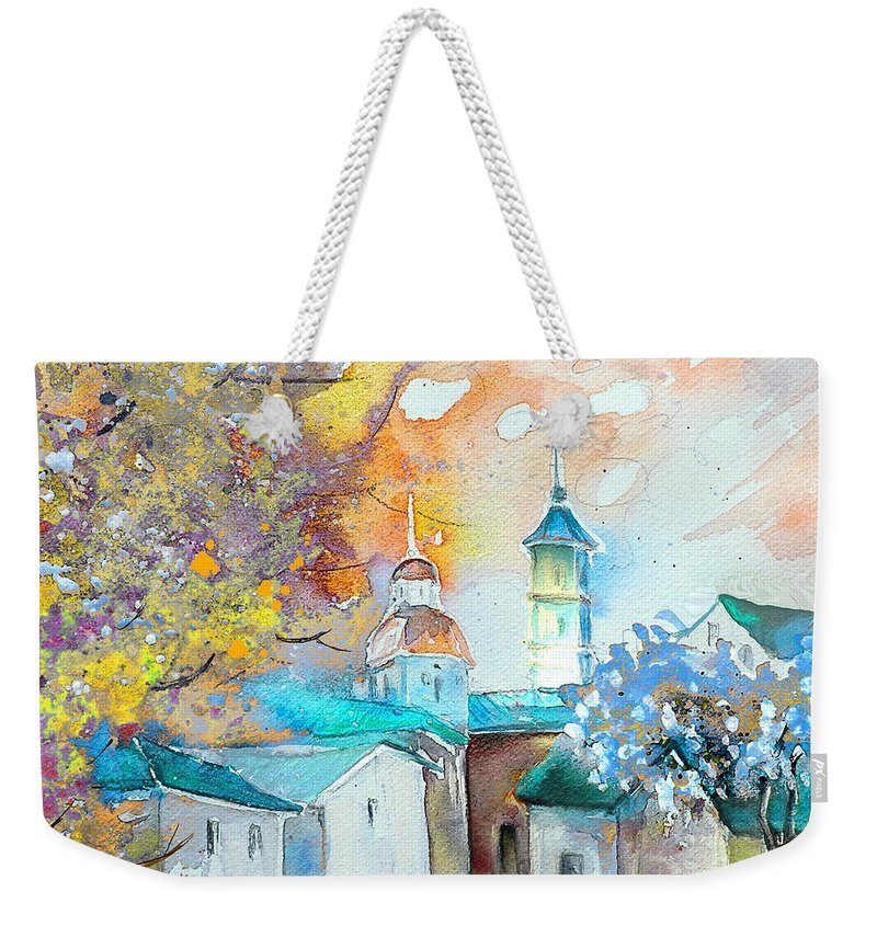 Watercolour Travel Painting Of A Village By Teruel In Spain Weekender Tote Bag featuring the painting By Teruel Spain 03 by Miki De Goodaboom