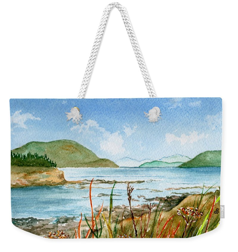 Landscape Weekender Tote Bag featuring the painting By The Bay by Brenda Owen