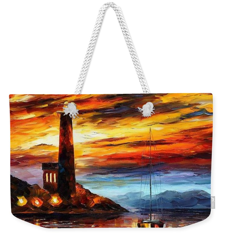 Afremov Weekender Tote Bag featuring the painting By The Lighthouse by Leonid Afremov