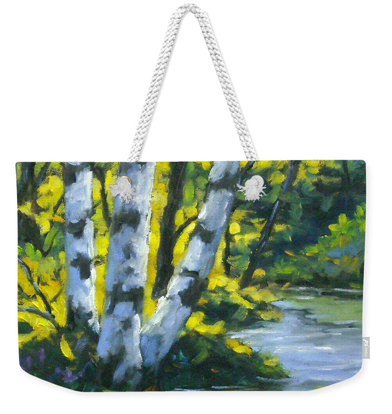 Art Weekender Tote Bag featuring the painting By The River by Richard T Pranke