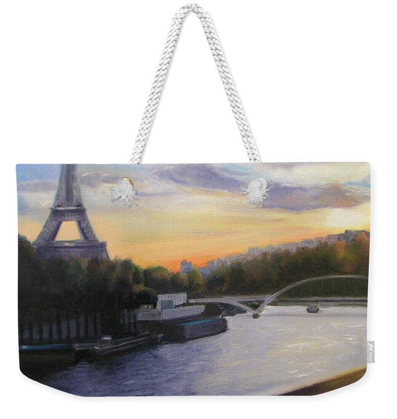 Eiffel Weekender Tote Bag featuring the painting By The Seine by Gail Eisenfeld