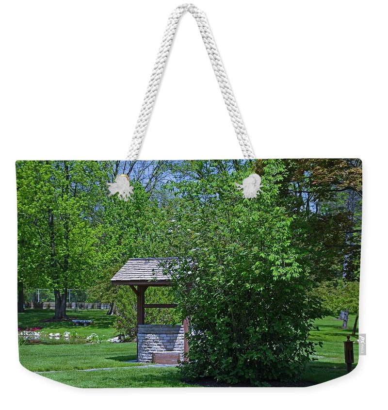 Wishing Well Weekender Tote Bag featuring the photograph By The Wishing Well-horizontal by Michiale Schneider