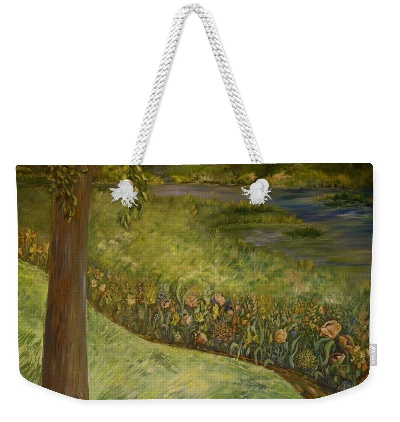 Creek Weekender Tote Bag featuring the painting Byron And Jenny's Backyard by Joanne Smoley