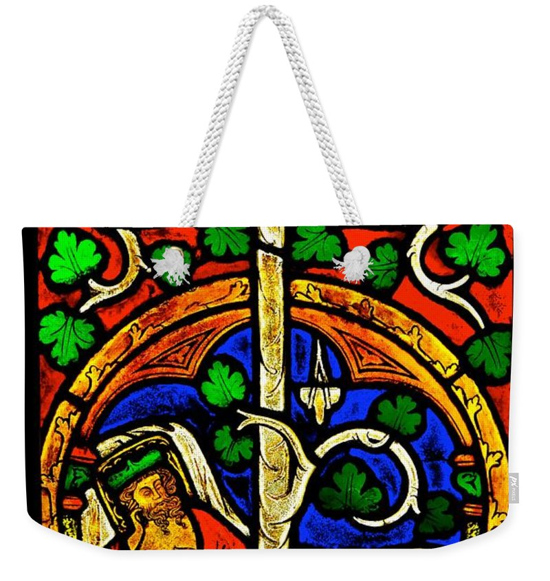 Stained Weekender Tote Bag featuring the photograph Byzantine Stained Glass by Saundra Myles