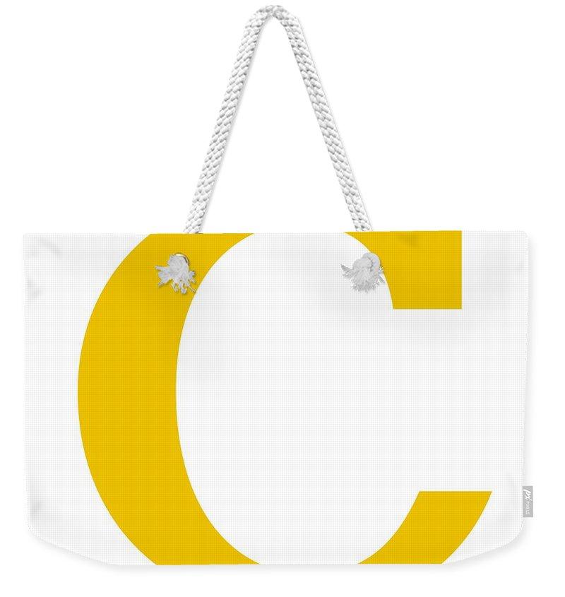 C Weekender Tote Bag featuring the digital art C In Mustard Typewriter Style by Custom Home Fashions