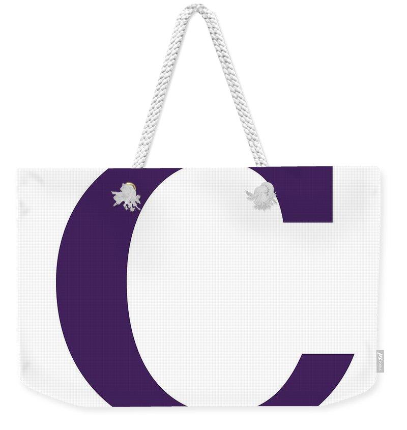 C Weekender Tote Bag featuring the digital art C In Purple Typewriter Style by Custom Home Fashions