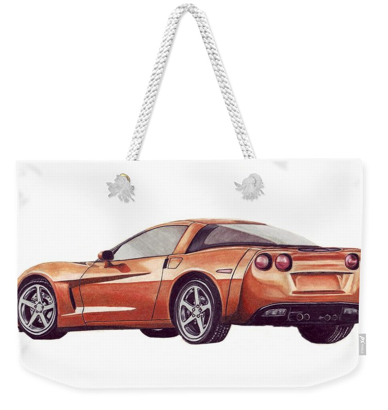 Corvette Weekender Tote Bag featuring the drawing C6 by Kristen Wesch