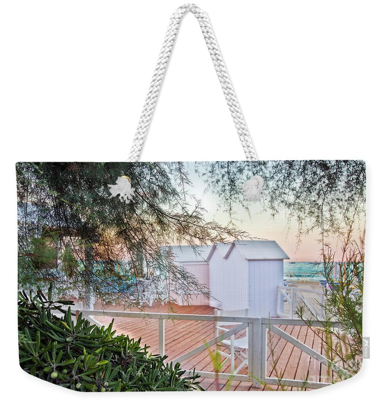 Cabanas Weekender Tote Bag featuring the photograph Cabana View by Madeline Ellis