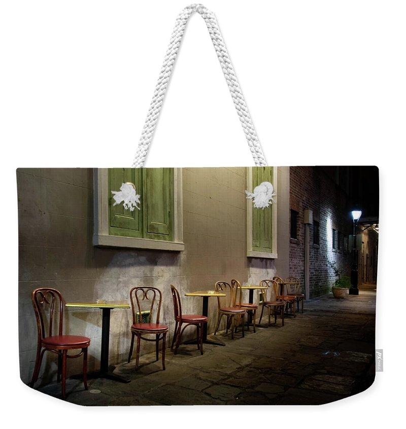 Cabildo Alley Tables Weekender Tote Bag featuring the photograph Cabildo Alley Tables by Greg Mimbs