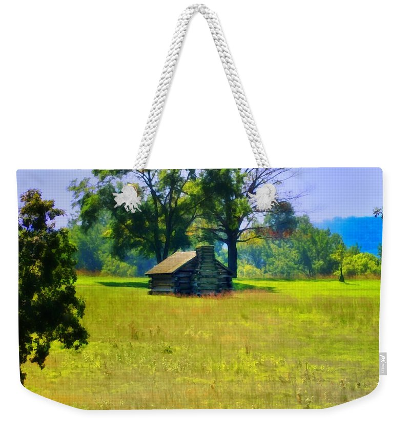 Cabin Weekender Tote Bag featuring the photograph Cabin At Valley Forge by Bill Cannon
