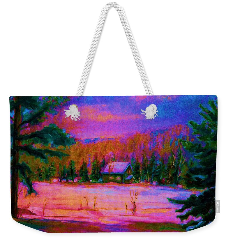Winterscenes Weekender Tote Bag featuring the painting Cabin In The Woods by Carole Spandau