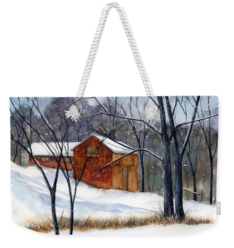 Cabin Weekender Tote Bag featuring the painting Cabin In The Woods by Debbie Lewis