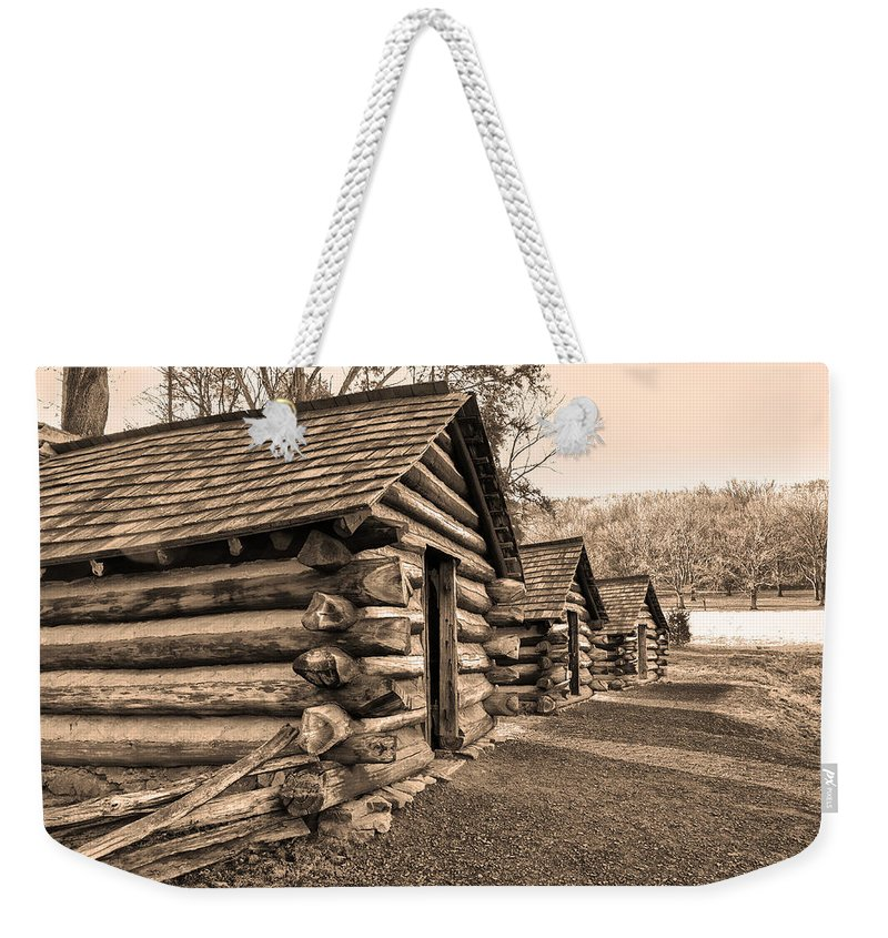 Cabins Weekender Tote Bag featuring the photograph Cabins At Valley Forge In Sepia by Bill Cannon