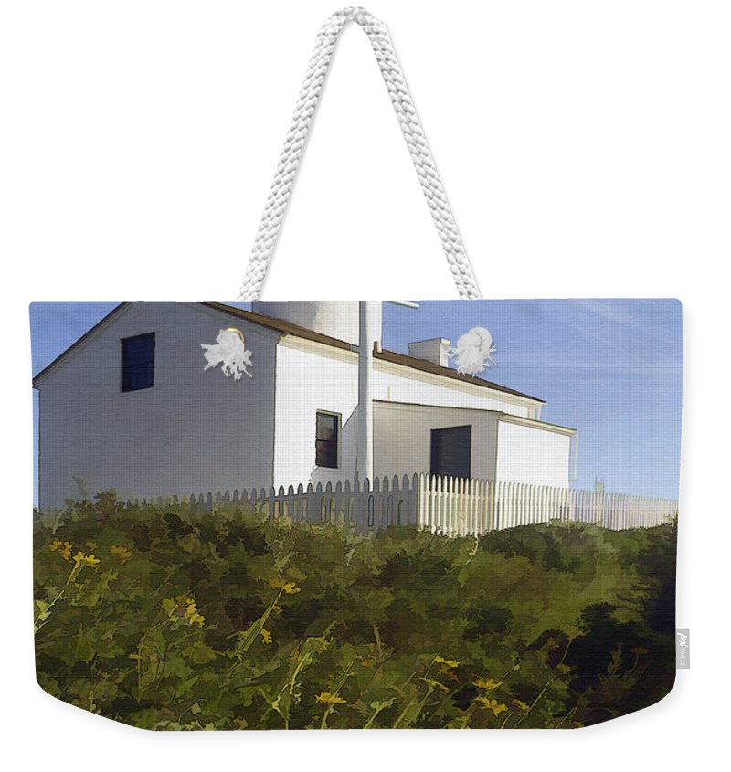 Lighthouse Weekender Tote Bag featuring the digital art Cabrillo Lighthouse by Sharon Foster