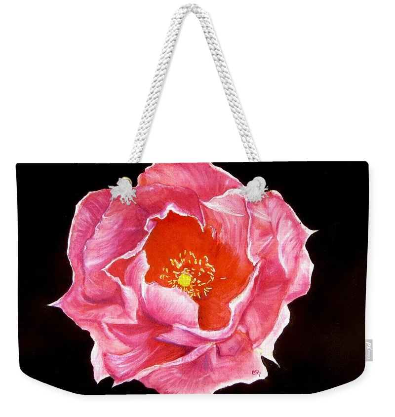 Cactus Painting Weekender Tote Bag featuring the painting Cactus Flower by Carol Blackhurst