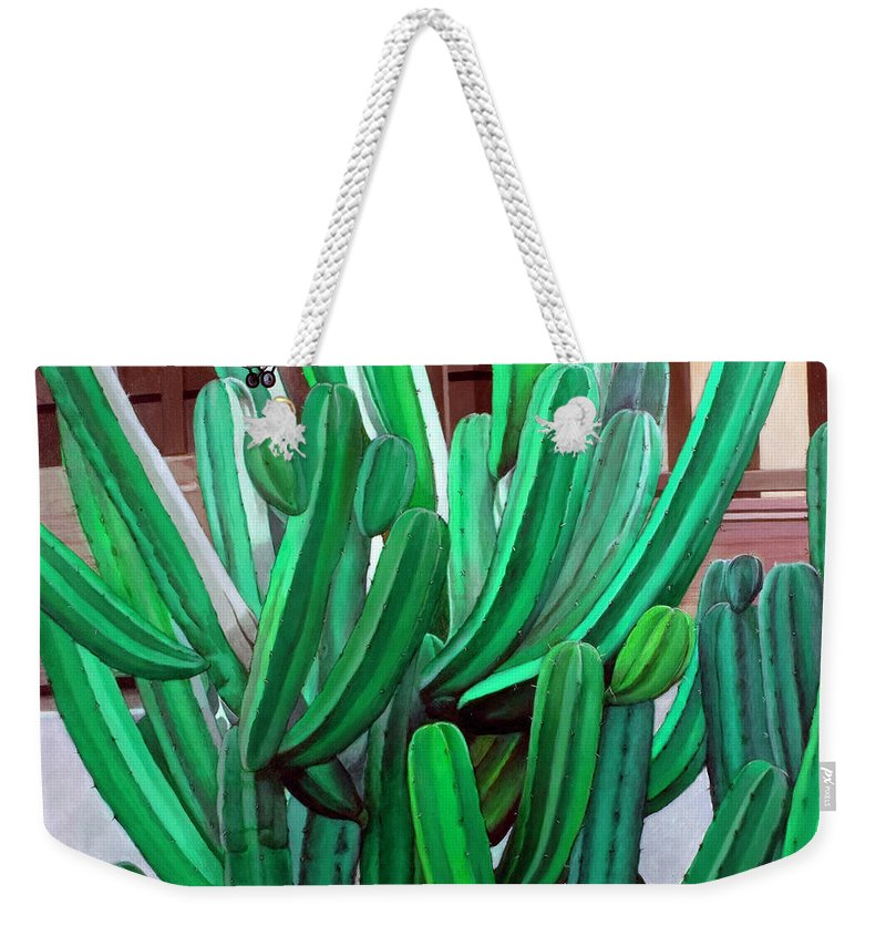 Landscape Weekender Tote Bag featuring the painting Cactus Fly By by Snake Jagger