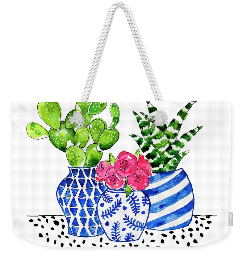 Chinoiserie Chic Weekender Tote Bag featuring the painting Cactus Garden by Roleen Senic
