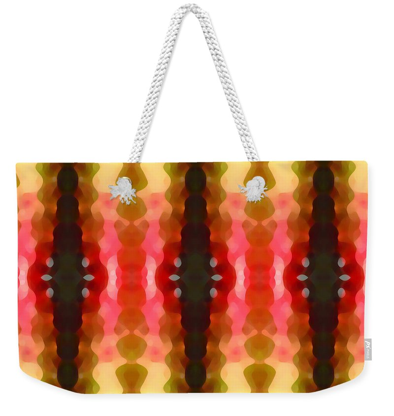 Abstract Weekender Tote Bag featuring the painting Cactus Vibrations 2 by Amy Vangsgard