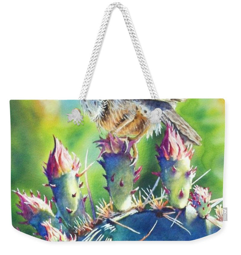 Wren Weekender Tote Bag featuring the painting Cactus Wren by Greg and Linda Halom