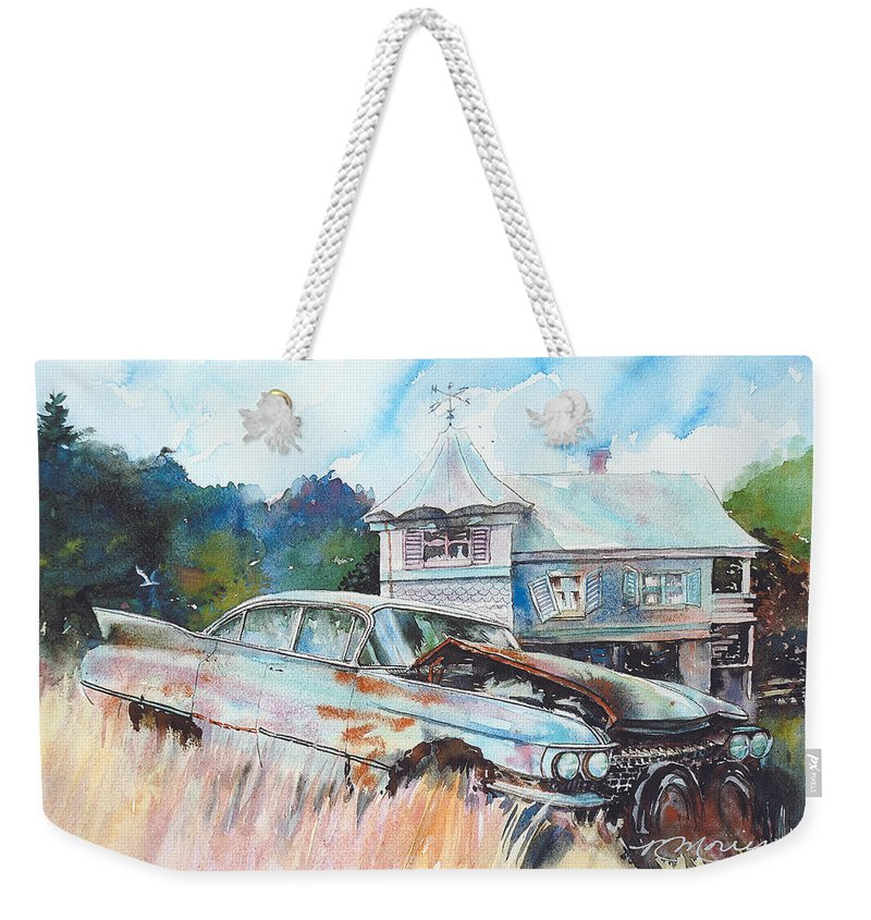 Cadillac Weekender Tote Bag featuring the painting Caddy Sliding Down the Slope by Ron Morrison