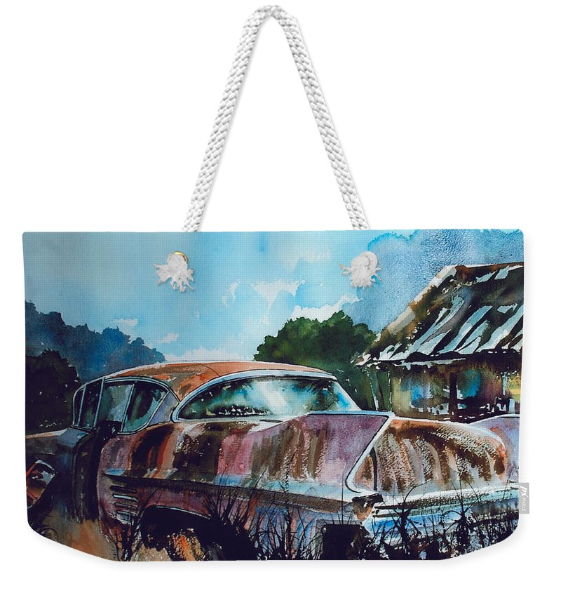 Caddy Weekender Tote Bag featuring the painting Caddy Subsiding by Ron Morrison