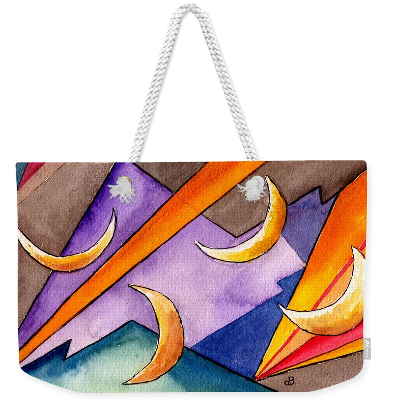 Watercolor Abstract Orange Purple Grey Moon Moons Design Fantasy Surreal Weekender Tote Bag featuring the painting Cadence by Brenda Owen