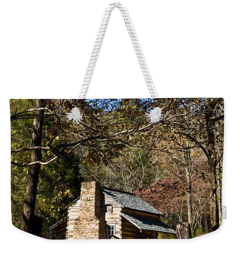 Cades Weekender Tote Bag featuring the photograph Cades Cove Early Settler Cabin by Douglas Barnett