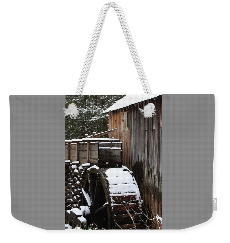 Great Smoky Mountains Weekender Tote Bag featuring the photograph Cades Cove Mill I by Margie Wildblood