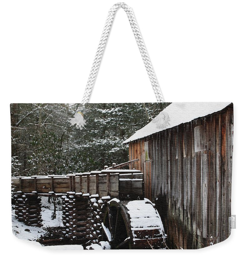 Smoky Mountains Weekender Tote Bag featuring the photograph Cades Cove Mill II by Margie Wildblood