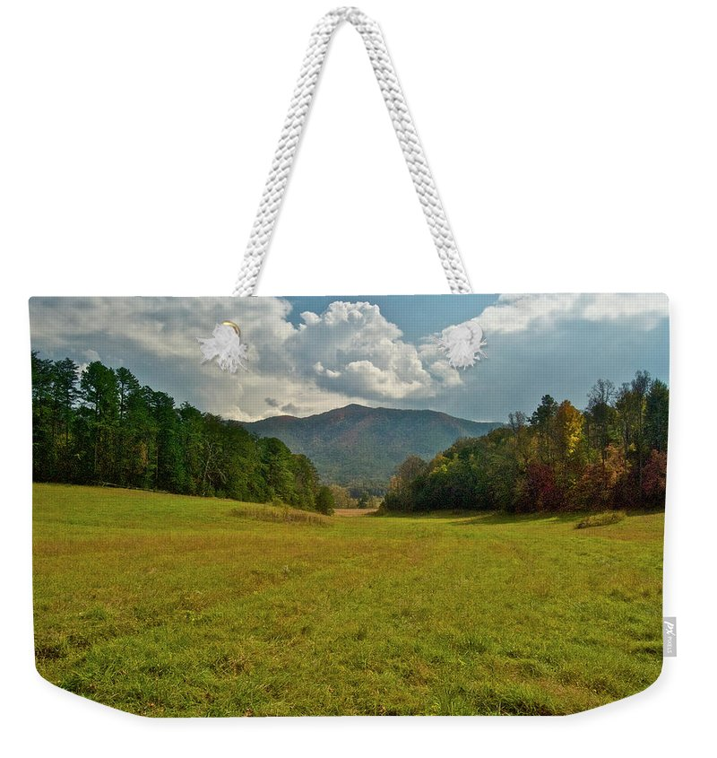 Cades Cove Weekender Tote Bag featuring the photograph Cades Cove Pasture by Michael Peychich