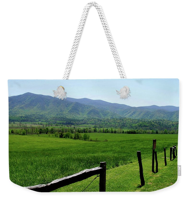 Cades Cove Weekender Tote Bag featuring the photograph Cades Cove View by Nancy Mueller