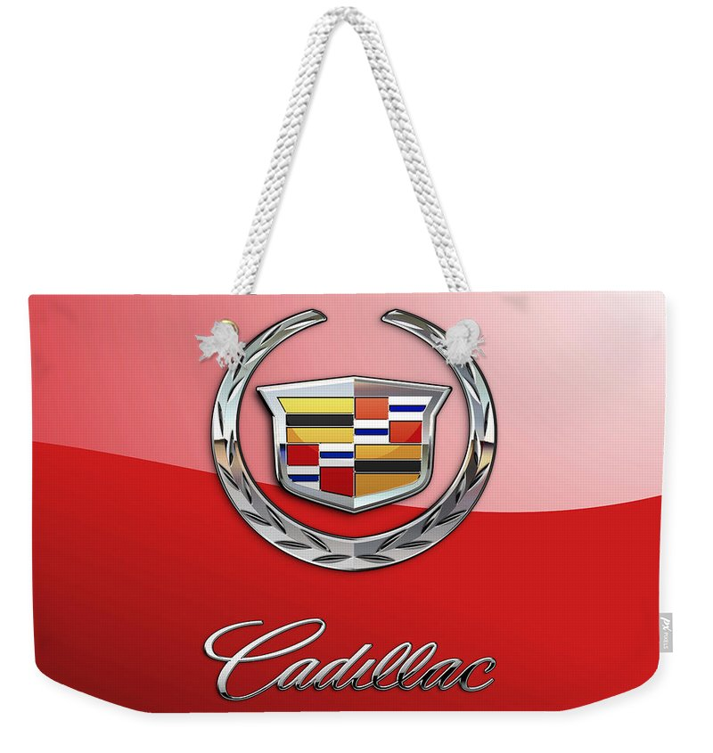 �wheels Of Fortune� Collection By Serge Averbukh Weekender Tote Bag featuring the photograph Cadillac - 3 D Badge on Red by Serge Averbukh