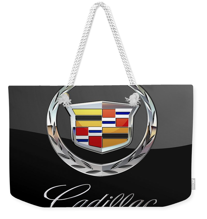 'wheels Of Fortune' By Serge Averbukh Weekender Tote Bag featuring the photograph Cadillac - 3 D Badge On Black by Serge Averbukh