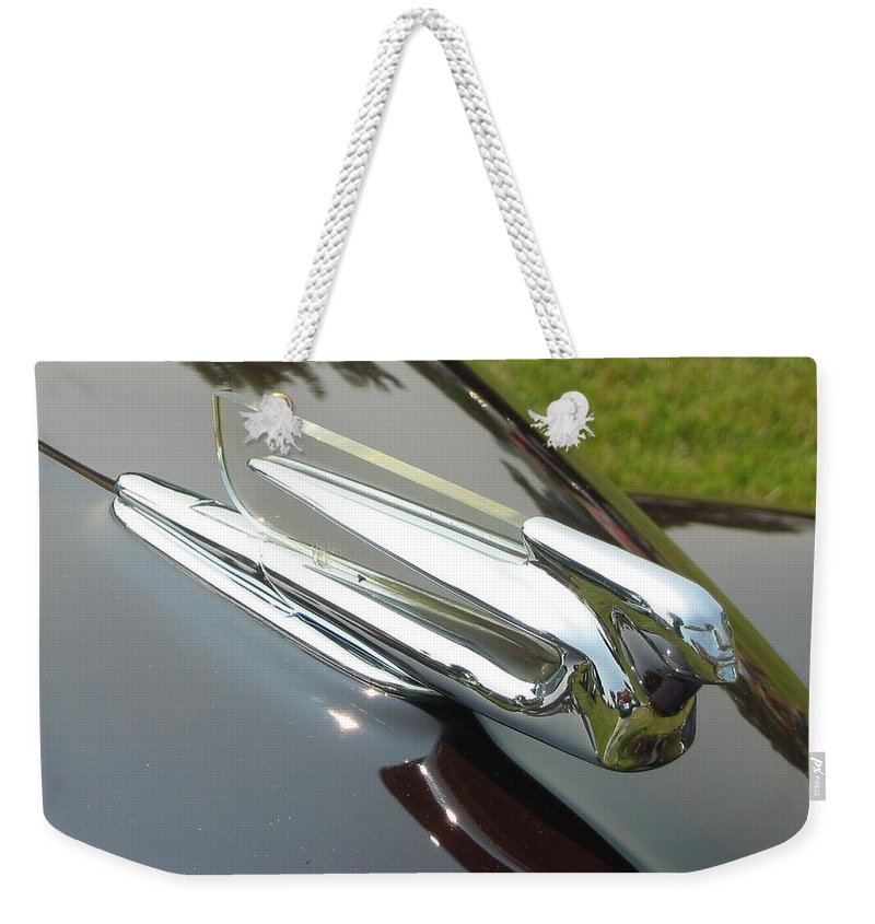 Car Weekender Tote Bag featuring the photograph Cadillac Hood Ornament by Neil Zimmerman
