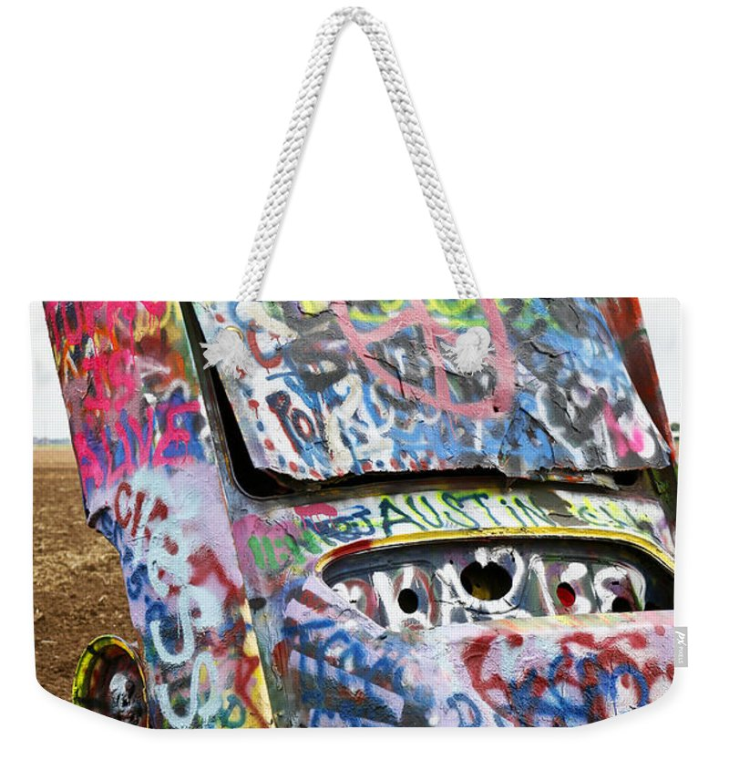 Americana Weekender Tote Bag featuring the photograph Cadillac Ranch by Marilyn Hunt