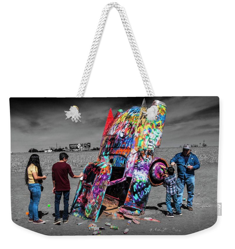 Landmark Weekender Tote Bag featuring the photograph Cadillac Ranch Spray Paint Fun Along Historic Route 66 By Amarillo Texas by Randall Nyhof