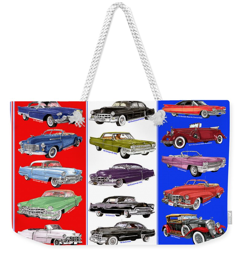 Big Caddy Posters. Art Of 15 Cadillac Framed Art Of Vintage Cadillacs. A Whole Lot Of Caddy's. 1957 Cadillac Weekender Tote Bag featuring the painting 15 Cadillacs The Poster by Jack Pumphrey