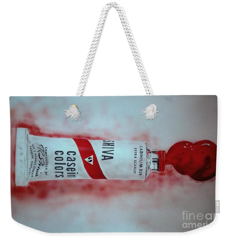 Tube Of Paint Weekender Tote Bag featuring the painting Cadmium Red by Ron Bissett