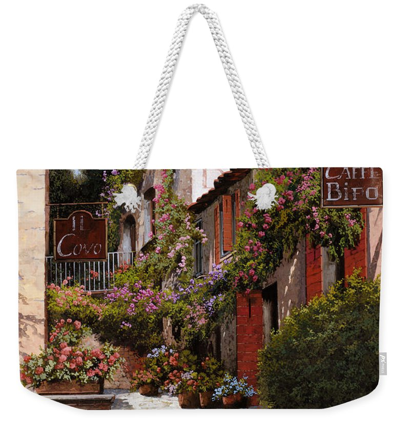Cafe Weekender Tote Bag featuring the painting Cafe Bifo by Guido Borelli