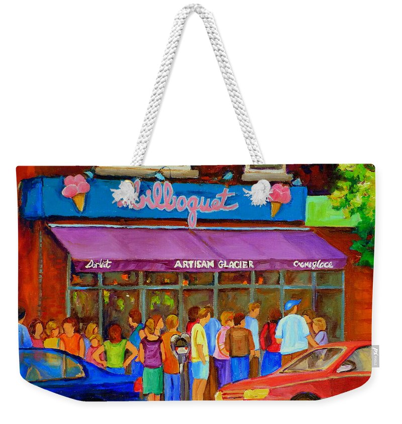 Cafe Bilboquet Weekender Tote Bag featuring the painting Cafe Bilboquet Ice Cream Delight by Carole Spandau