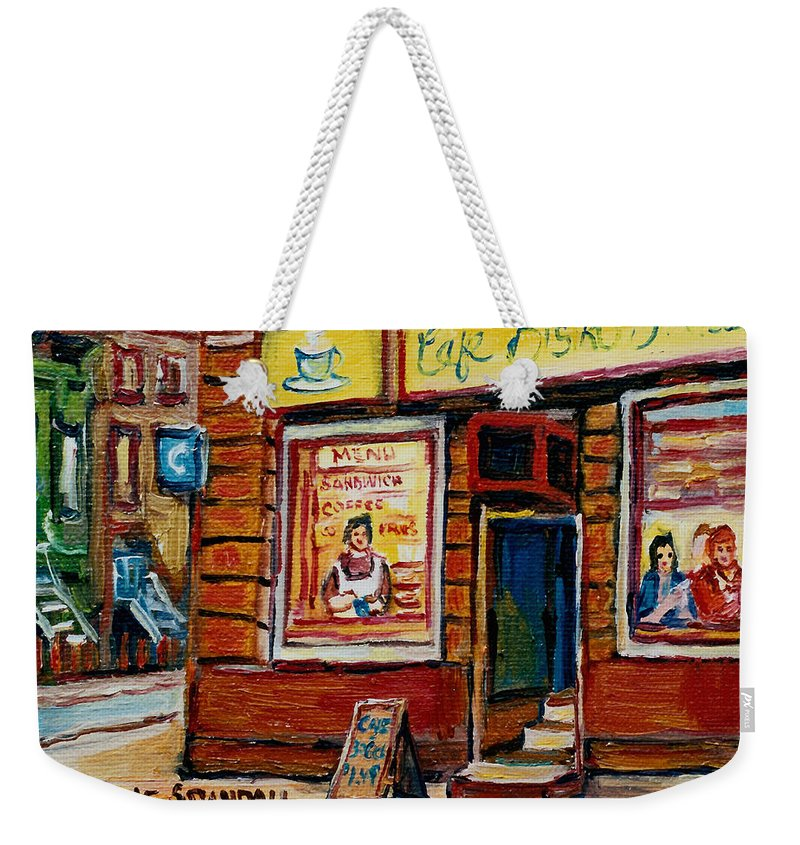 Cafe Bistro St.viateur Weekender Tote Bag featuring the painting Cafe Bistro St. Viateur by Carole Spandau