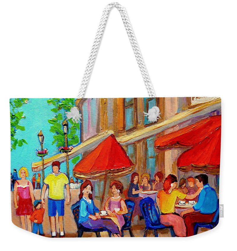 Cafescene Weekender Tote Bag featuring the painting Cafe Casa Grecque Prince Arthur by Carole Spandau