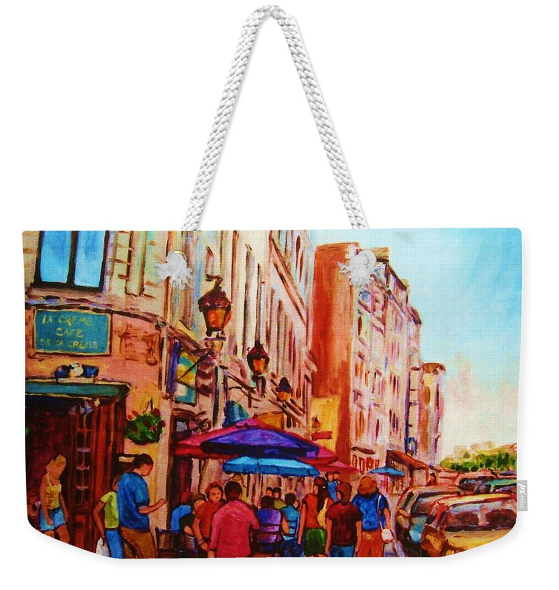 Montreal Weekender Tote Bag featuring the painting Cafe Creme by Carole Spandau