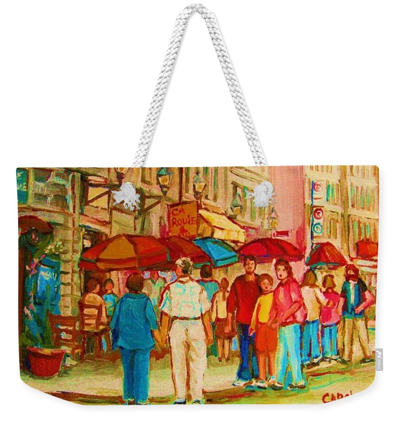 Cafe Scenes Weekender Tote Bag featuring the painting Cafe Crowds by Carole Spandau
