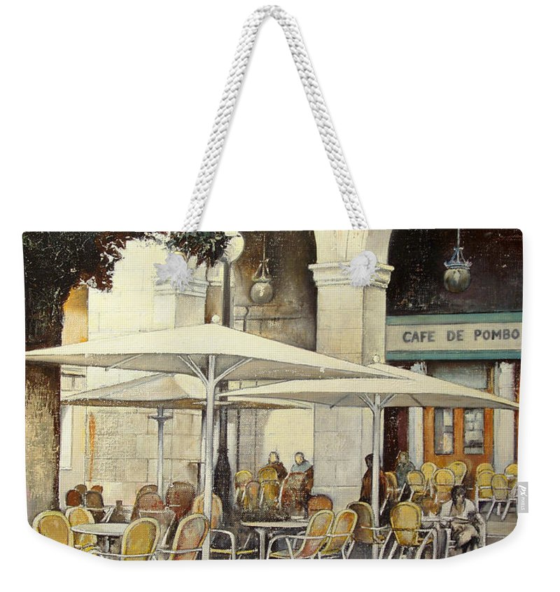 Cafe Weekender Tote Bag featuring the painting Cafe de Pombo-Santander by Tomas Castano