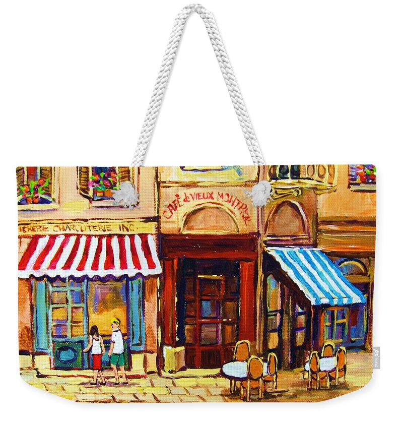 Old Montreal Outdoor Cafe City Scenes Weekender Tote Bag featuring the painting Cafe De Vieux Montreal With Couple by Carole Spandau