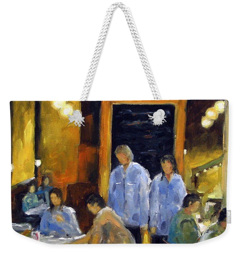 Urban Weekender Tote Bag featuring the painting Cafe Des Artistes by Richard T Pranke
