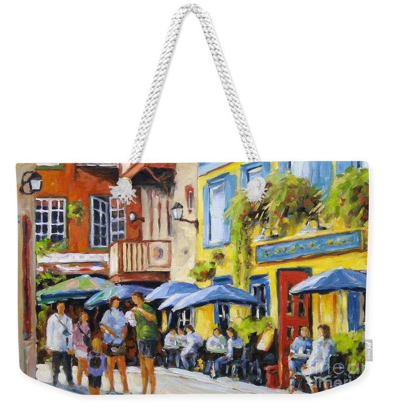 Balcony Weekender Tote Bag featuring the painting Cafe In The Old Quebec by Richard T Pranke